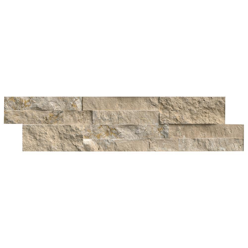 Durango Cream Splitface Ledger Panel 6 in. x 24 in. Travertine Wall Tile (10 cases / 60 sq. ft. / pallet)