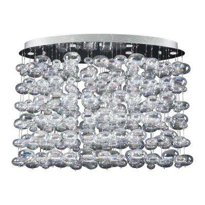 12-Light Polished Chrome Pendant with Iridescent Glass Shade
