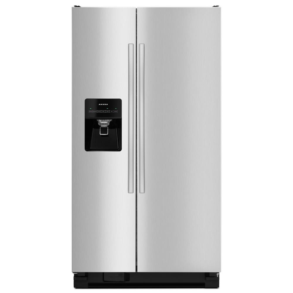Shop Kitchenaid 24 8 Cu Ft Side By Side Refrigerator With: Amana 24.49 Cu. Ft. Side By Side Refrigerator In Stainless