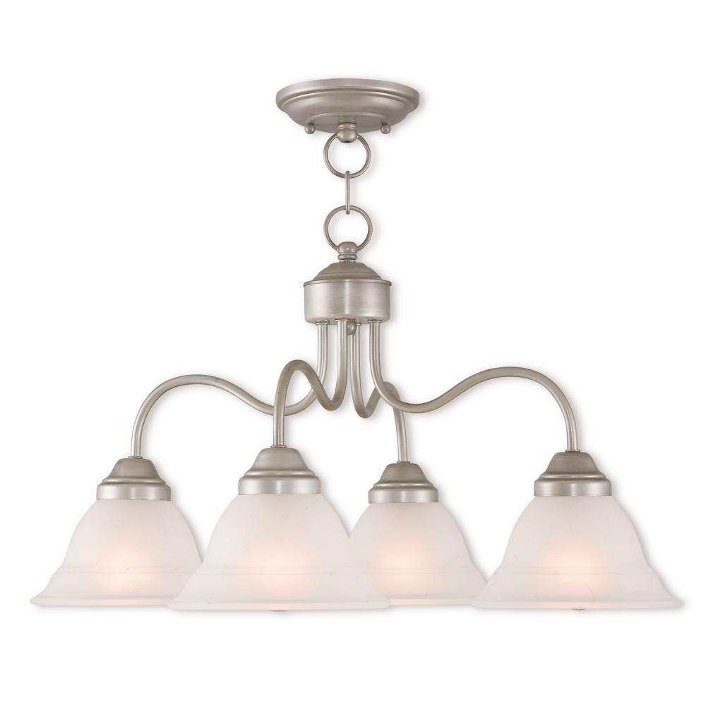 Livex Lighting Wynnewood 4-Light Hand Applied Brushed Silver Convertible Chandelier with Hand Applied Gray Marble Glass Shade