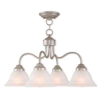 Wynnewood 4-Light Hand Applied Brushed Silver Convertible Chandelier with Hand Applied Gray Marble Glass Shade
