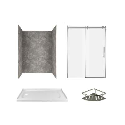 Passage 60 in. x 72 in. Left Drain 4-Piece Glue-Up Alcove Shower Wall, Shelf, Door and Base Kit in Gray Concrete