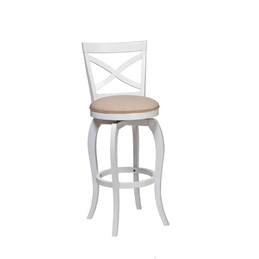 Ellendale 25.25 in. White Swivel Cushioned Counter Stool