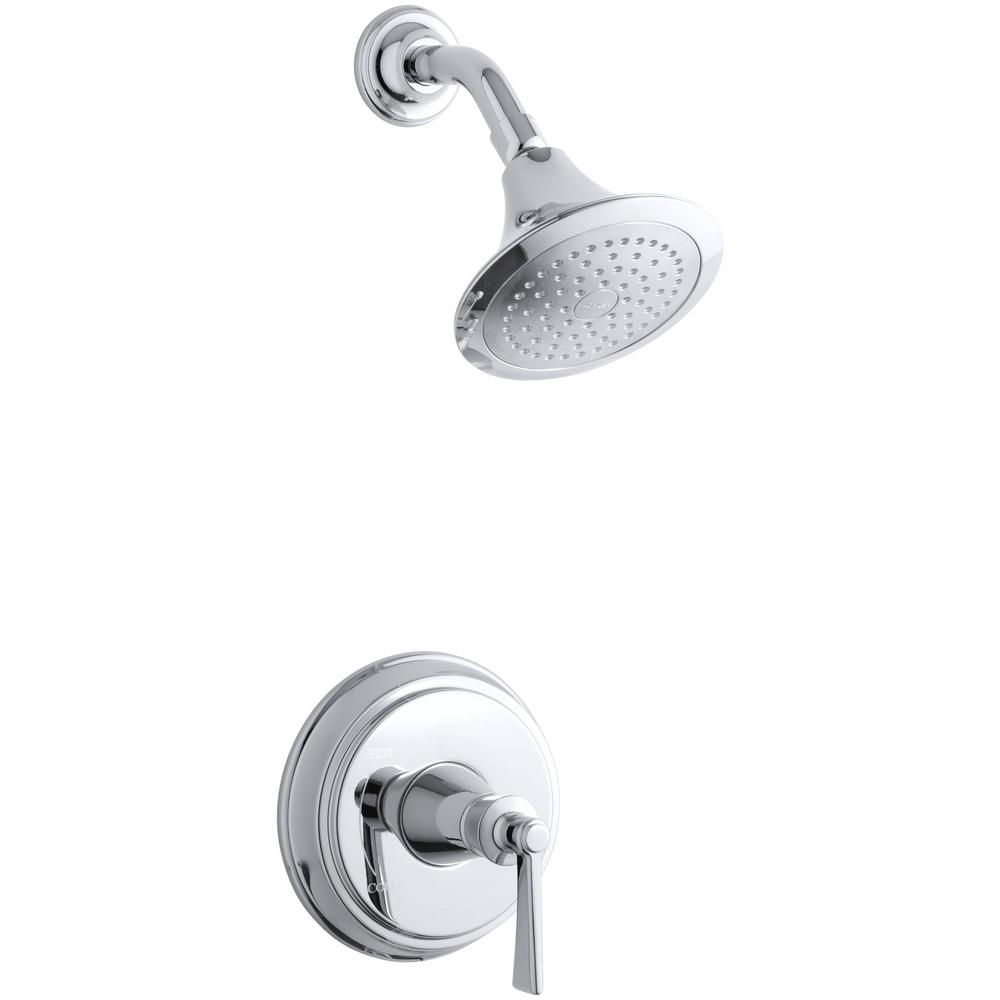 KOHLER Archer 1-Spray 6.5 in. 2.0 GPM Fixed Showerhead with Lever Handle in Polished Chrome