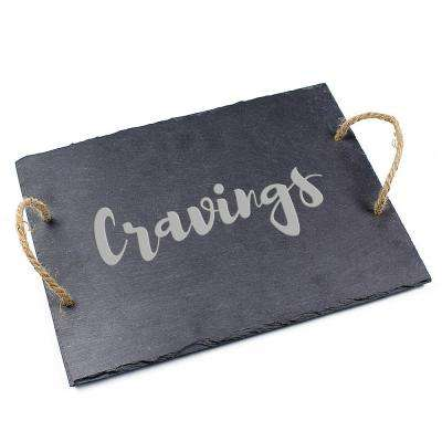 """Cravings"" 15.75 in. x 12 in. x .25 in. Slate Serving Board"