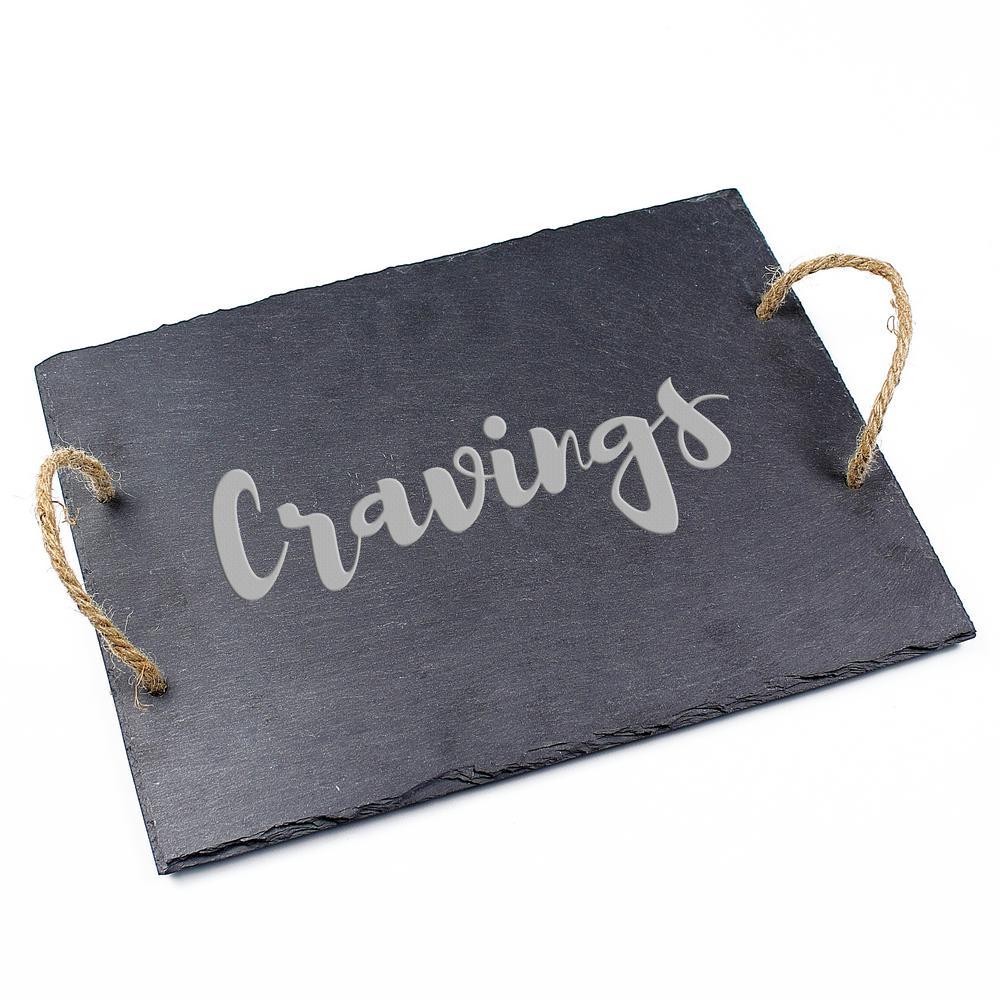 """Cravings"" 15.75 in. x 12 in. x .25 in. Slate Serving Board"