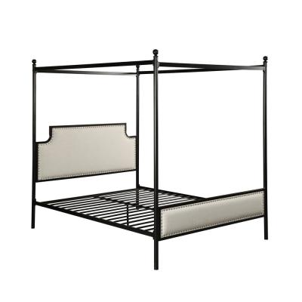 Beechmont  Flat Black Metal Upholstered Queen Bed Frame