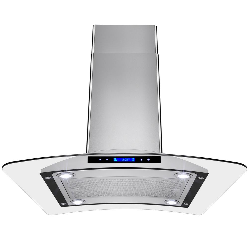 Convertible Kitchen Island Mount Range Hood In Stainless Steel With Tempered Gl And Touch Controls Rh0111 The Home Depot