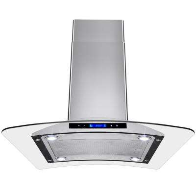 30 in. Convertible Kitchen Island Mount Range Hood in Stainless Steel with Tempered Glass and Touch Controls