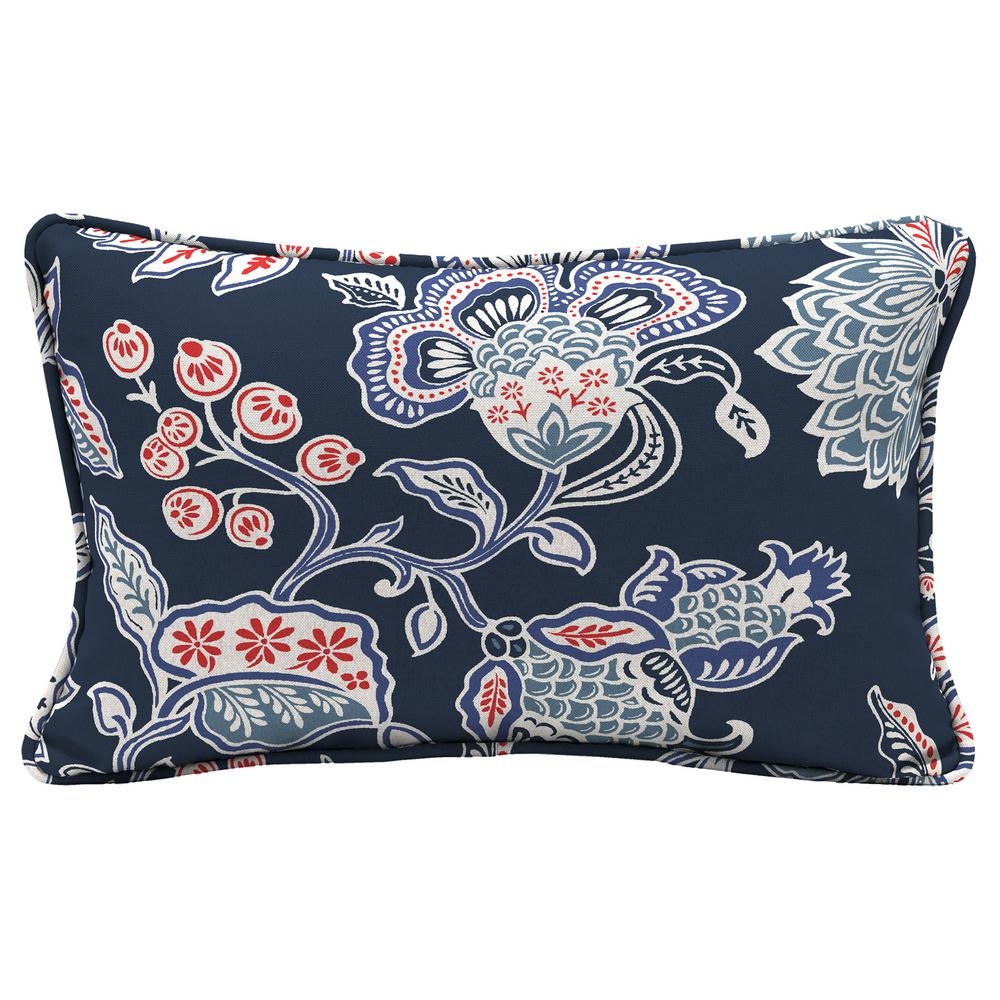 Blue Floral Lumbar Outdoor Throw Pillow