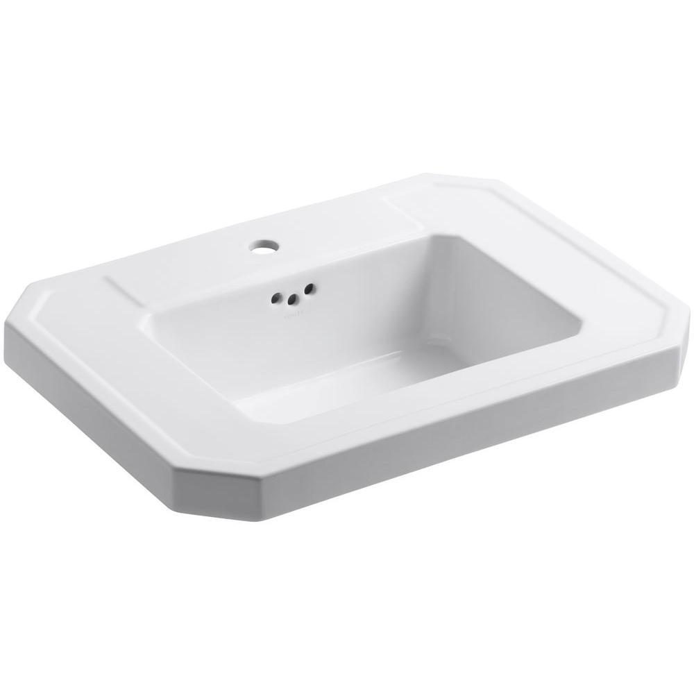 KOHLER Kathryn 27 in. Fireclay Pedestal Sink Basin in White with Overflow Drain