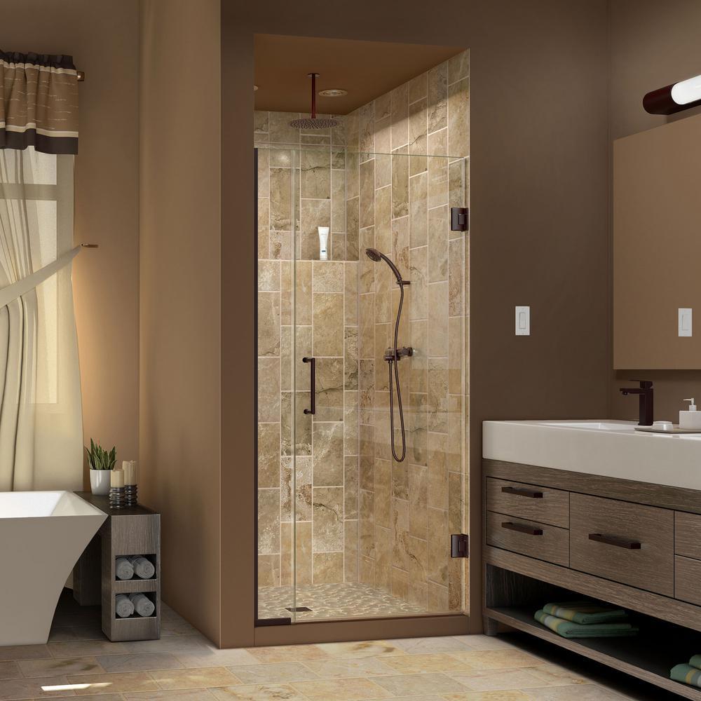 DreamLine Unidoor Plus 33-1/2 in. to 34 in. x 72 in. Semi-Frameless Hinge Shower Door in Oil Rubbed Bronze