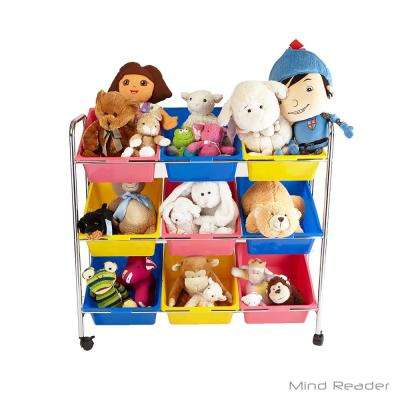 Metal Toy Storage Organizer with Multi-color 9-Plastic Bins