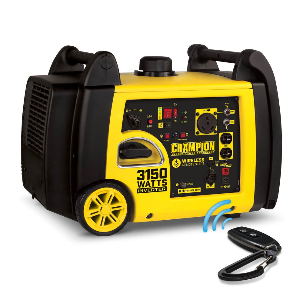 Champion Power Equipment 3150-Watt Gasoline Powered Wireless Remote Start Inverter Generator with Champion 171cc 4-Stroke Engine
