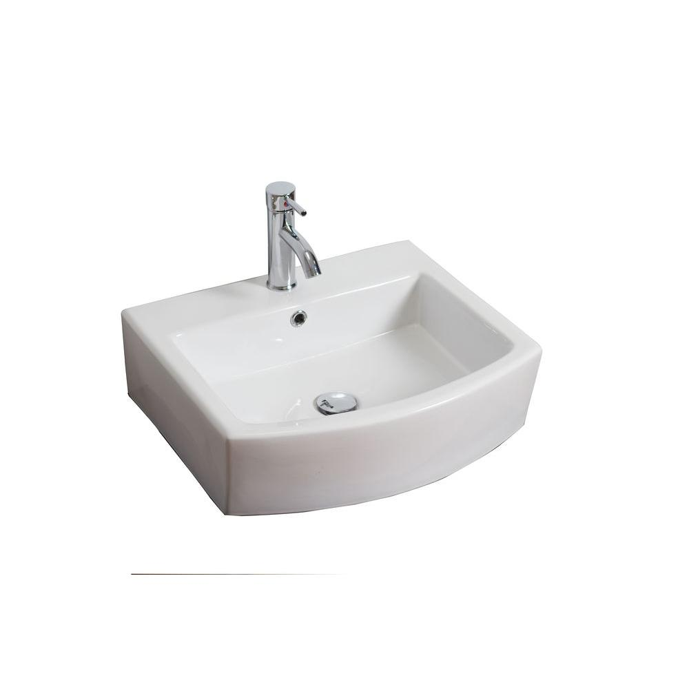 American Imaginations 22-in. W x 20-in. D Wall Mount Rectangle Vessel Sink In White Color For Single Hole Faucet