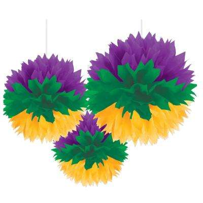 Mardi Gras Green, Purple and Gold Tissue Paper Fluffy Decorations Assortment (3-Count, 2-Pack)