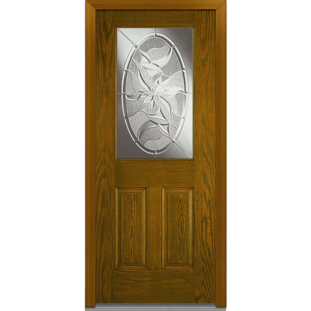 Milliken Millwork 36 in. x 80 in. Lasting Impressions Right Hand 1/2 Lite Decorative Modern Stained Fiberglass Oak Prehung Front Door