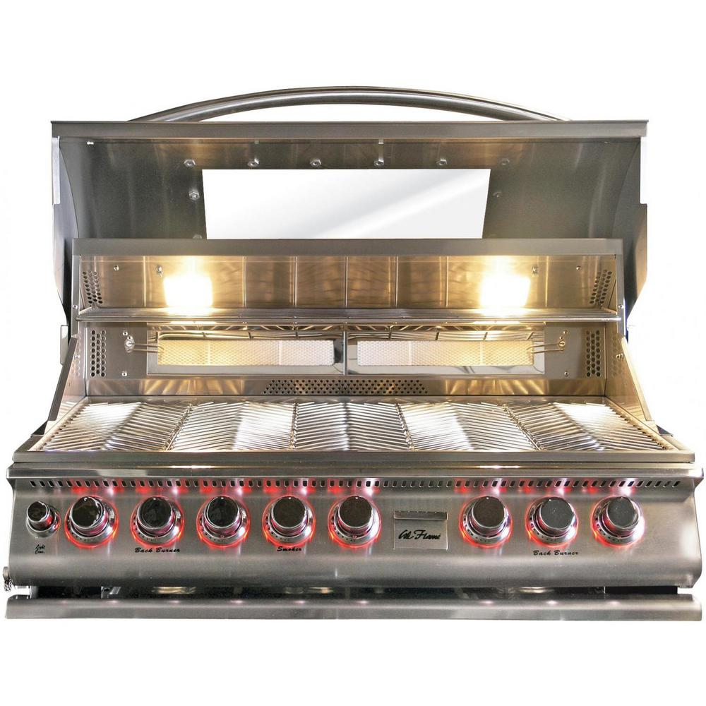 Cal Flame 5 Burner Built In Propane Gas Grill Stainless Steel Top Gun Convection With Rotisserie Bbq19875ctg The Home Depot
