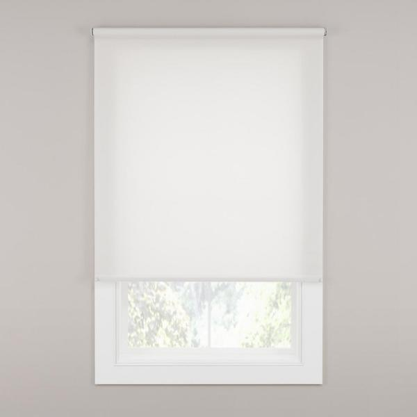 Stylewell Cut To Size Off White Cordless Light Filtering Fabric Roller Shade 73 25 In W X 72 In L 37 7502 40 The Home Depot