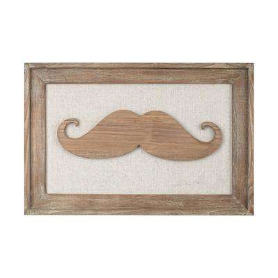 "16 in. x 24 in. ""Moustache on Linen"" Wooden Wall Art"