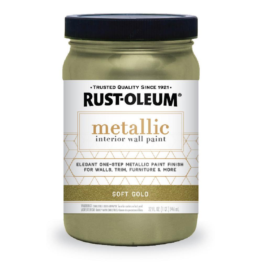 Rust oleum 1 qt soft gold metallic paint 2 pack 320728 for How to make metallic paint