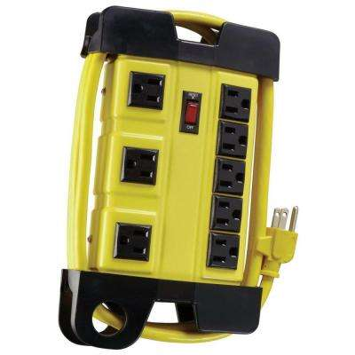 Metal 8-Outlet Workshop Power Strip with Cord Wrap and 3-Transformer Outlets 6 ft. Power Cord - Yellow