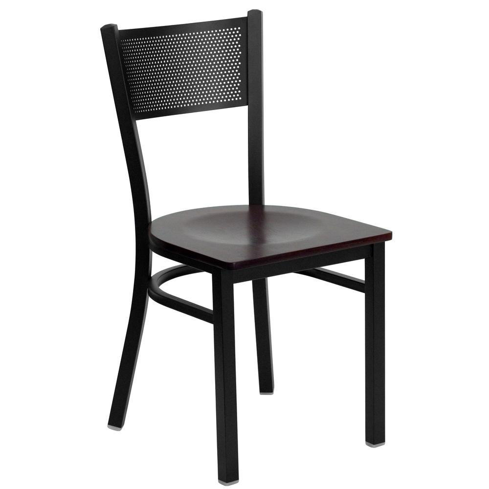 Hercules Series Black Grid Back Metal Restaurant Chair   Mahogany Wood