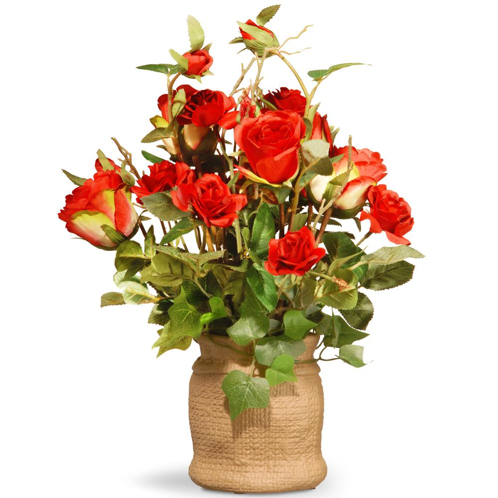 16 in. Red Roses in Ceramic Pot