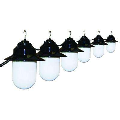 6-Light Outdoor Old Savannah String Lights with Black Housing and White Globes