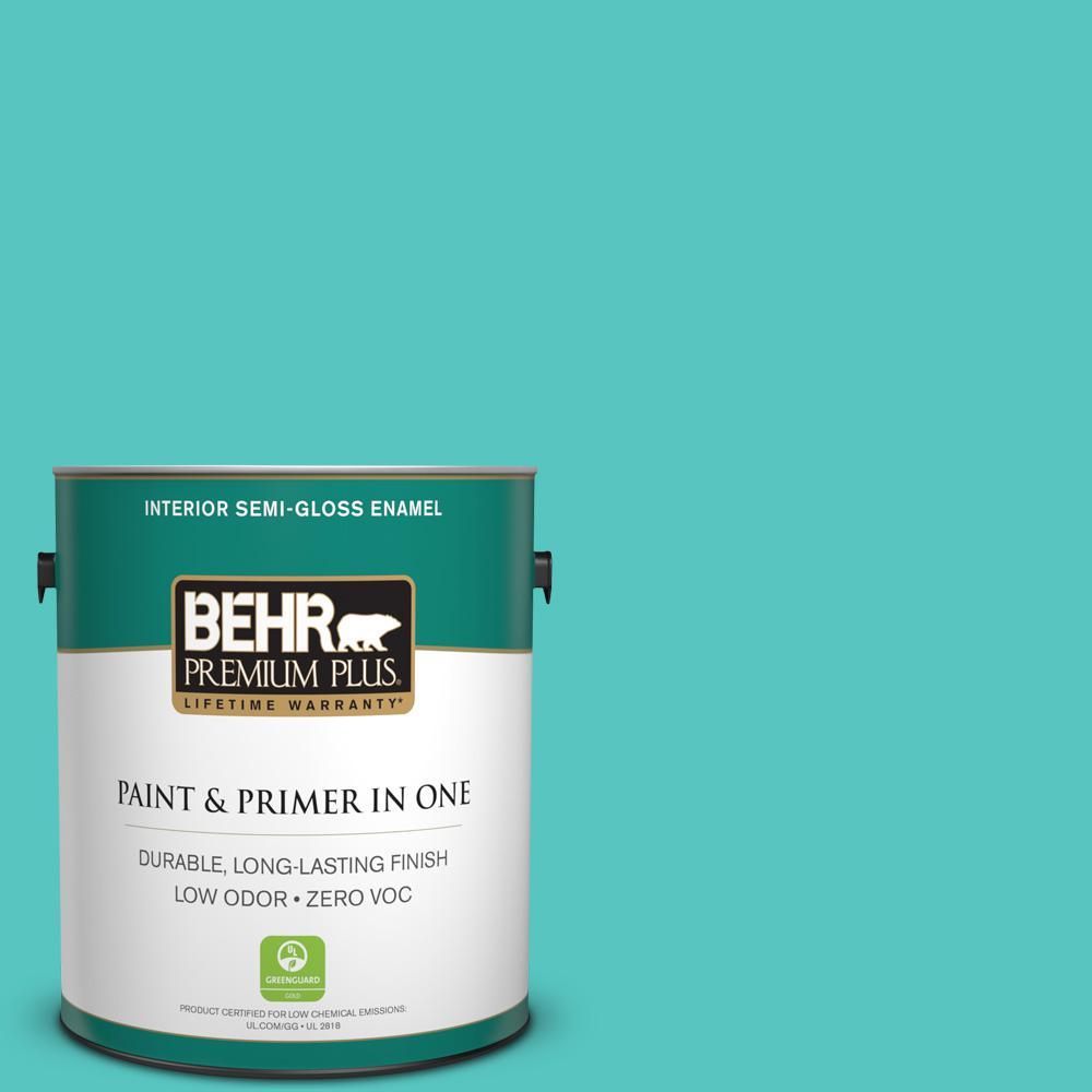 BEHR Premium Plus 1-gal. #490B-4 Sea Life Zero VOC Semi-Gloss Enamel Interior Paint