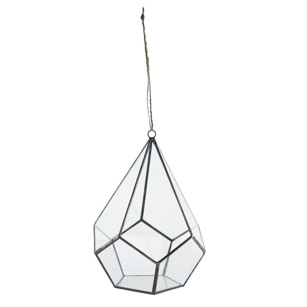6 in. x 8 in. Geometric Terrarium Crystal Glass Teardrop Hanging