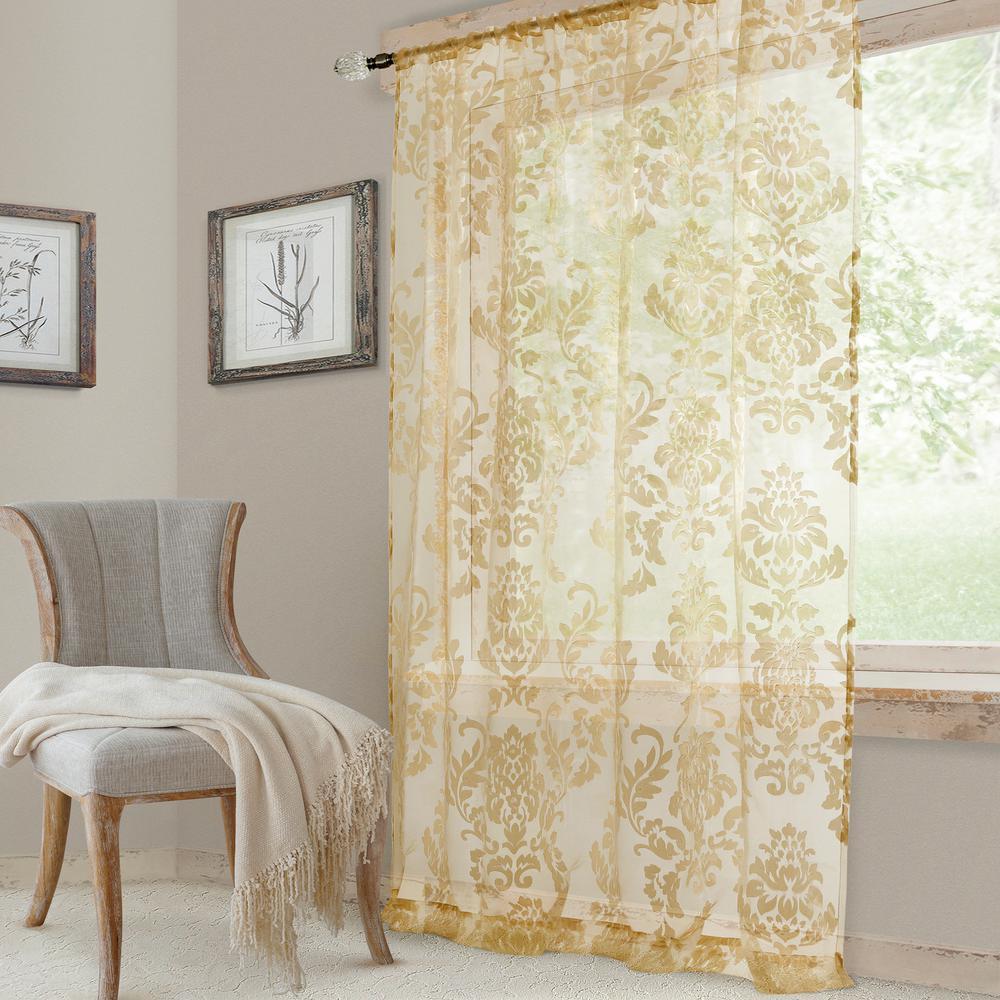 Elrene Valentina Sheer Antique Single Window Curtain Panel