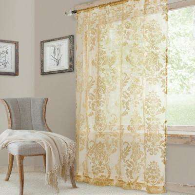 Antique Valentina Sheer Single Window Curtain Panel - 52 in. W x 95 in. L