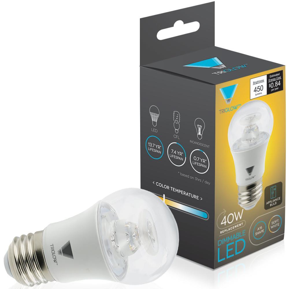 40-Watt Equivalent A15 Dimmable 450-Lumens ETL Listed E26 Medium Base Appliance LED Light Bulb Soft White