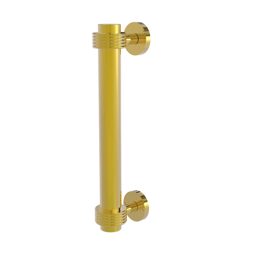 8 in. Door Pull with Groovy Accents in Polished Brass
