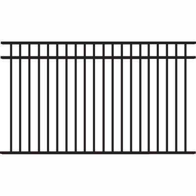 Natural Reflections Heavy-Duty 4-1/2 ft. H x 8 ft. W Black Aluminum Pre-Assembled Fence Panel