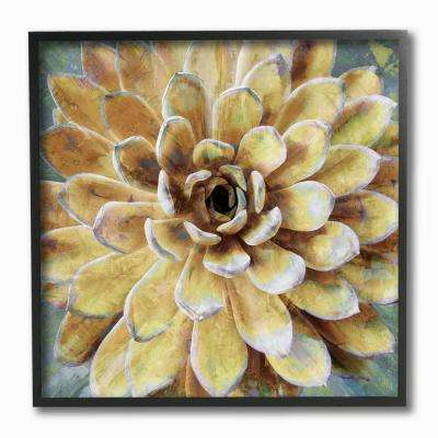 "12 in. x 12 in. ""Yellow Painted Botanical Succulent Bloom Painting"" by Artist Lindsay Benson Framed Wall Art"