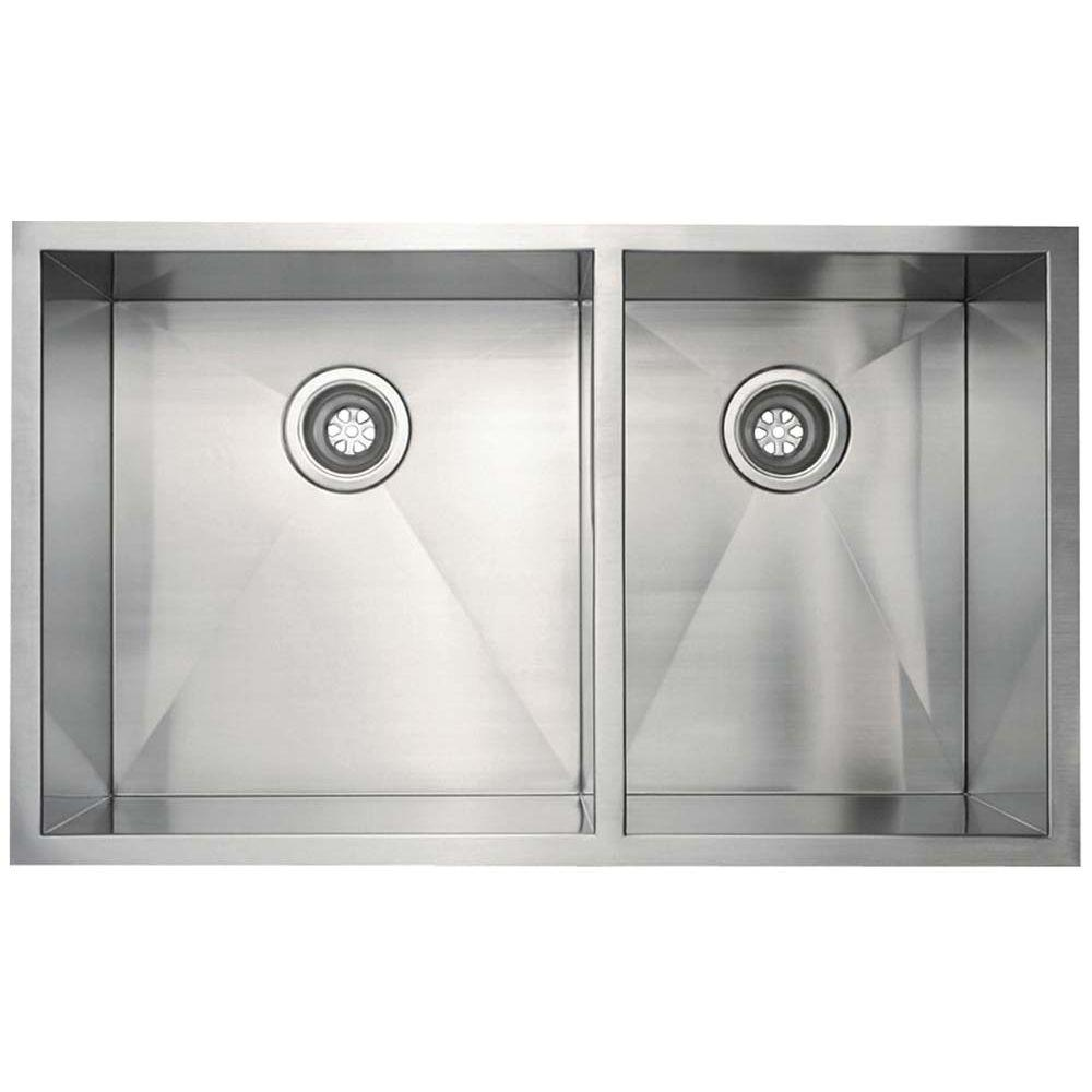 Beautiful Belle Foret All In One Undermount Stainless Steel 33x18x10 0 Hole Double  Bowl