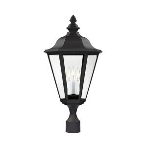Brentwood 3-Light Outdoor Black Post Light with Dimmable Candelabra LED Bulb