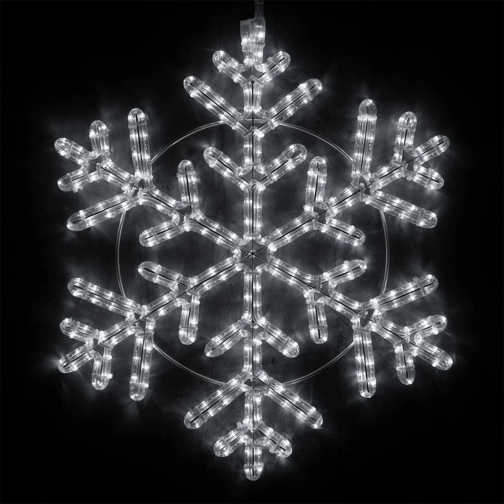 24 in. 314-Light LED Cool White Hanging Snowflake Decor