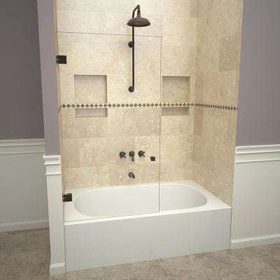 2300V Series 78 in. W x 60 in. H Frameless Pivot Tub Door in Oil Rubbed Bronze with Back-to-Back Knob and Clear Glass