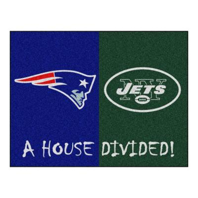 NFL Patriots / Jets Navy House Divided 3 ft. x 4 ft. Area Rug