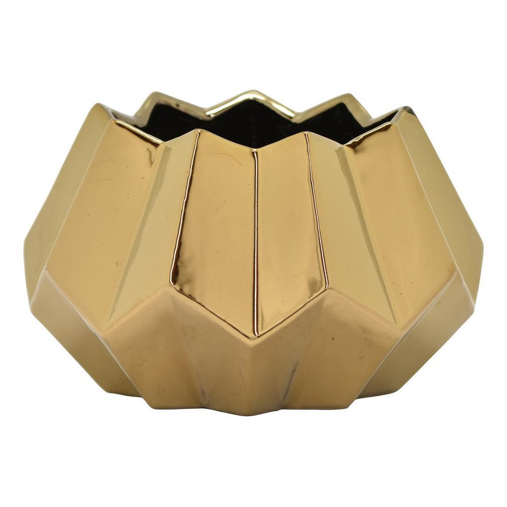 4.5 in. Ceramic Flower Pot in Bronze