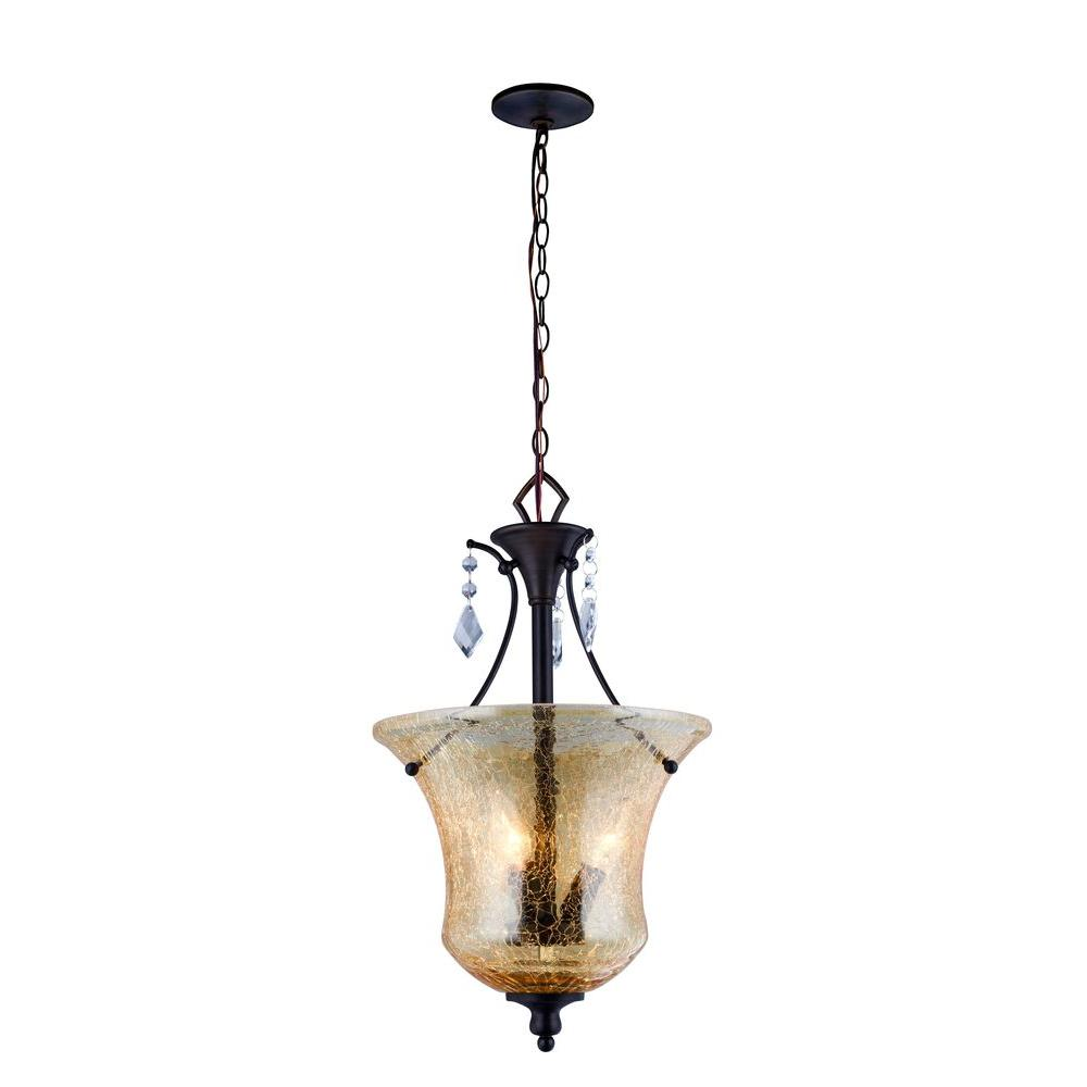 World Imports Ethelyn Collection 3 Light Oil Rubbed Bronze Pendant With Elegant Old Gl