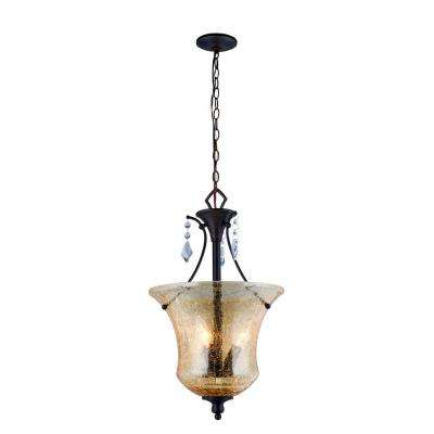 Ethelyn Collection 3-Light Oil Rubbed Bronze Pendant with Elegant Old World Glass Shade