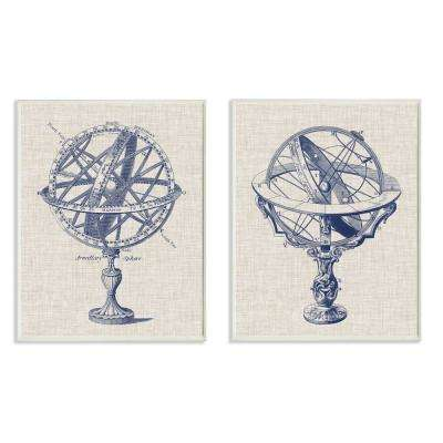 "10 in. x 15 in. ""Armillary Sphere Diagram Illustrations"" by Vision Studio Wood Wall Art (2-Piece)"