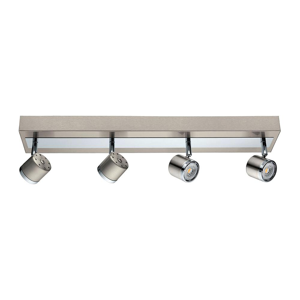 Eglo Pierino 2 Ft Satin Nickel And Chrome Integrated Led Track Lighting Kit With Adjule Heads