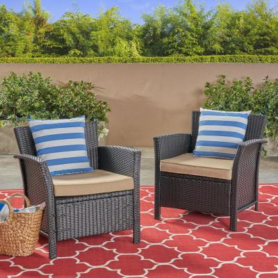 St. Lucia Brown Armed Wicker Outdoor Lounge Chair with Tan Cushion (2-Pack)