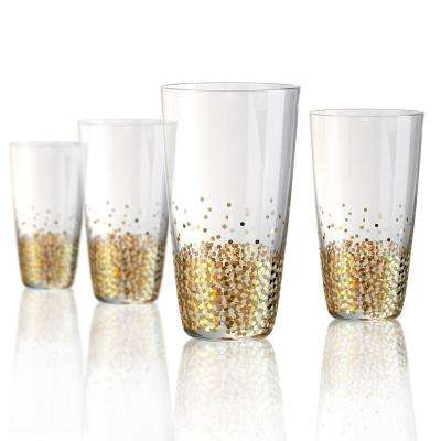 18 oz. Highball Glass with a Gold and Silver Confetti Decoration (Set of 4)