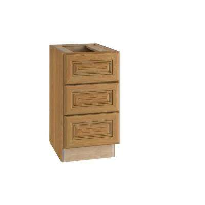 Lewiston Assembled 18x28.5x21 in. 3 Drawers Base Desk Cabinet in Toffee Glaze